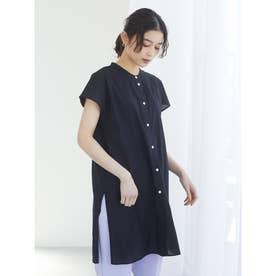 フレンチスリーブバンドカラーシャツチュニック (Black)