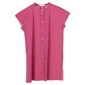 フレンチスリーブバンドカラーシャツチュニック (Pink)