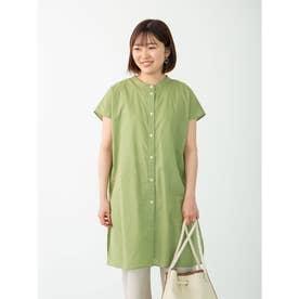 フレンチスリーブバンドカラーシャツチュニック (Green)