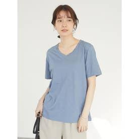 スラブVネックねじりTシャツ (Blue)