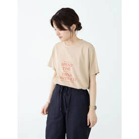 多段キレイめロゴTシャツ (Beige)