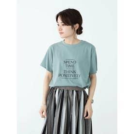 多段キレイめロゴTシャツ (Blue Green)