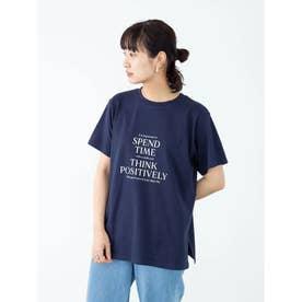 多段キレイめロゴTシャツ (Navy)