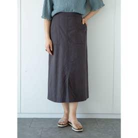ベルギーリネンブレンド セミタイトスカート (Charcoal Gray)