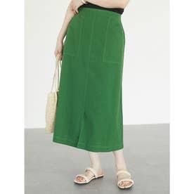 ベルギーリネンブレンド セミタイトスカート (Green)