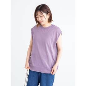 シアーリネンブレンド ノースリーブニット (Purple)