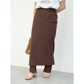 ランダムリブタイトスカート (Brown)