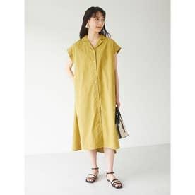 ベルギーリネンブレンド 開襟ワンピース (Yellow)