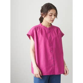ベルギーリネンブレンド ノースリブラウス (Pink)