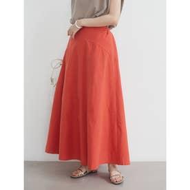 ベルギーリネンブレンド 切替スカート (Orange)