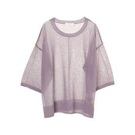 シアーニット7分袖プルオーバー (Purple)