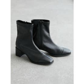 ・minia スクエアトゥストレッチブーツ (ブラック)