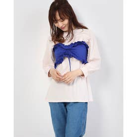 【w closet】 SET2点Tシャツ×フリルビスチェ (Light Pink)