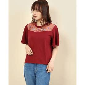 【RAYCASSIN】 刺繍入リチュール切替Tシャツ (Bordeaux)