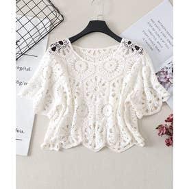 透かし編み 半袖 プルオーバー (ホワイト)
