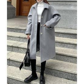 ミドル丈 オーバーサイズ ステンカラーコート (ブルーグレー)