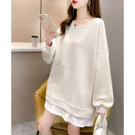 裾シャツレイヤード風 カットソー プルオーバー (ホワイト)