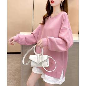 裾シャツレイヤード風 カットソー プルオーバー (ピンク)