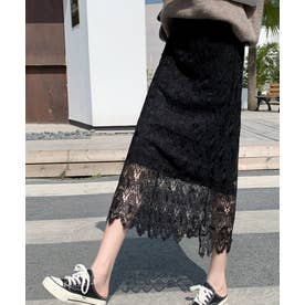 ミモレ丈 レース 台形スカート (ブラック)