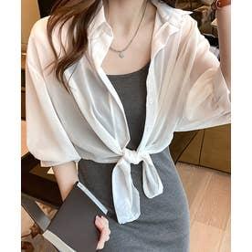 裾結び シアー ブラウス (ホワイト)
