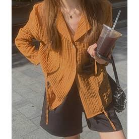 エンボスストライプ 長袖 オープンカラー シャツ (ダークオレンジ)