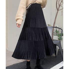 ベロアプリーツ ティアード スカート (ブラック)