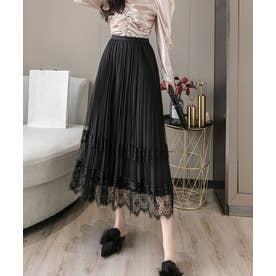 チュールレース×ベロア プリーツ リバーシブルスカート (ブラック)