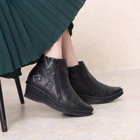 【ネット限定】牛革パッチワークステッチダウンブーツ (ブラック)