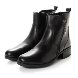 ジアーノバレンチノ アウトレット 牛革 サイドファスナー ショートブーツ (BLACK)