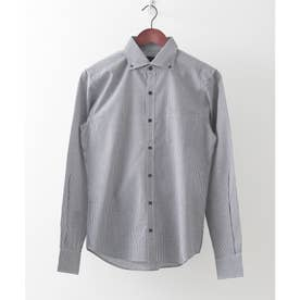 【日本製】長袖 ギンガムチェックボタンダウンシャツ (ブラック系その他2)