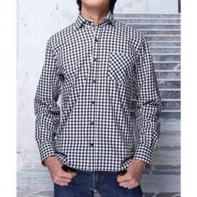 【日本製】長袖 ギンガムチェックボタンダウンシャツ (ブラック)
