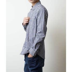 【日本製】長袖 ブロードナノファイン加工レギュラーカラーシャツ (ブルー系その他2)