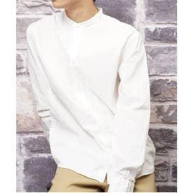 【日本製】長袖 ブロードナノファイン加工洗いざらしコットンブロードノーカラーシャツ (ホワイト)