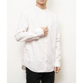 【日本製】長袖 ブロードナノファイン加工洗いざらしコットンブロードノーカラーシャツ (ライトピンク)