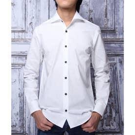 【日本製】長袖 ブロードワイドカラーシャツ (ホワイト)
