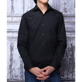【日本製】長袖 ブロードワイドカラーシャツ (ブラック)