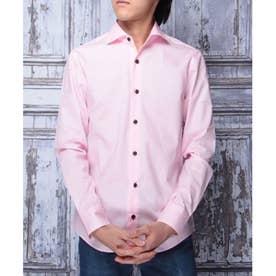 【日本製】長袖 ブロードワイドカラーシャツ (ピンク)