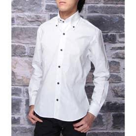 【日本製】長袖 ブロードデュエボタンダウンシャツ (ホワイト)