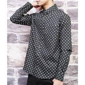【日本製】長袖 ブロード水玉ボタンダウンシャツ (ブラック)