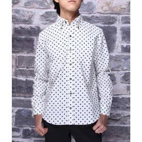 【日本製】長袖 ブロード水玉ボタンダウンシャツ (ホワイト)