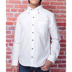 【日本製】長袖 オックスフォードボタンダウンシャツ (ホワイト)