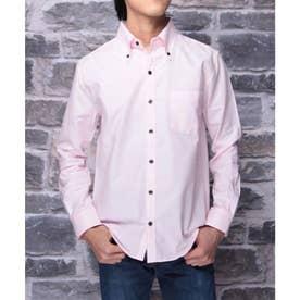 【日本製】長袖 オックスフォードボタンダウンシャツ (ピンク)