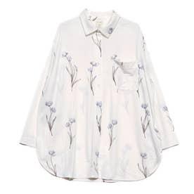 クリアフラワーシャツドレス(ブルー)