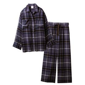 【セットアップ】ネルチェックシャツ&ロングパンツSET (NVY)