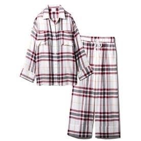 【セットアップ】ネルチェックシャツ&ロングパンツSET (OWHT)