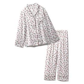 【セットアップ】リトルローズサテンシャツ&ロングパンツSET (RED)