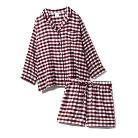 【セットアップ】ネルギンガムチェックシャツ&ショートパンツSET (RED)