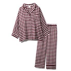 【セットアップ】ネルギンガムチェックシャツ&ロングパンツSET (RED)