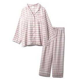【セットアップ】ネルギンガムチェックシャツ&ロングパンツSET (PNK)