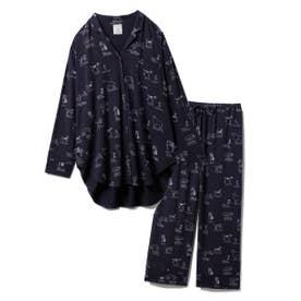 【セットアップ】DOGモチーフシャツ&ロングパンツSET (NVY)